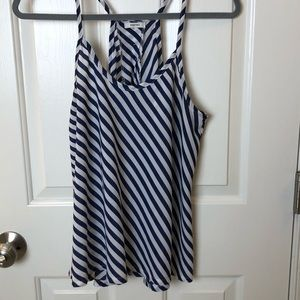 Striped Open Back Tank with Thin Straps